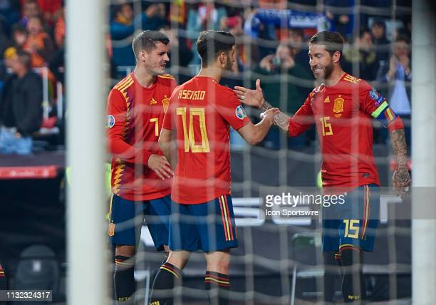 Sergio Ramos captain of Spain celebrates his goal with his teammates during the 2020 UEFA European Championships group F qualifying match between...