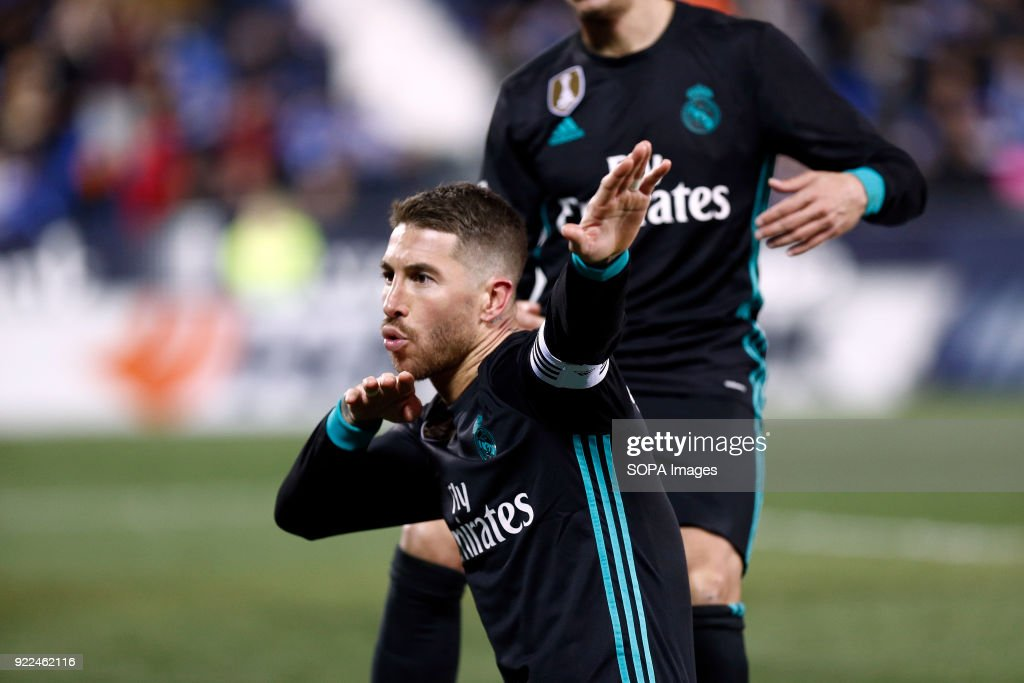 BUTARQUE, LEGANES, MADRID, SPAIN - : Sergio Ramos (Real Madrid) celebrates after scoring a goal during the Spanish league football match between Leganes vs Real Madrid at the Estadio Butarque. Final Score Leganes 1 Real Madrid 3.