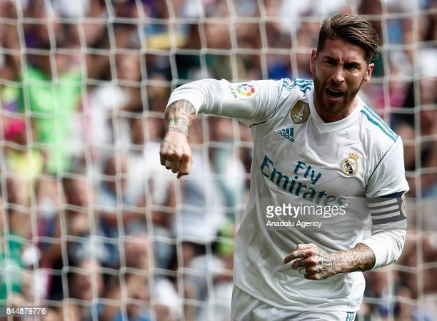 Sergio Ramos celebrates after the goal during the La Liga soccer match between Real Madrid and Levante at Santiago Bernabeu in Madrid Spain on...