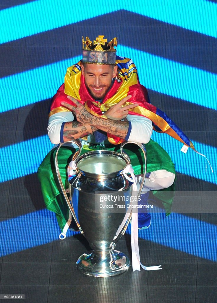 Sergio Ramos celebrates during the Real Madrid celebration the day after winning the 12th UEFA Champions League Final at Santiago Bernabeu stadium on June 4, 2017 in Madrid, Spain.