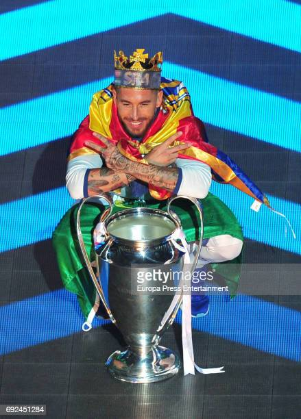 Sergio Ramos celebrates during the Real Madrid celebration the day after winning the 12th UEFA Champions League Final at Santiago Bernabeu stadium on...