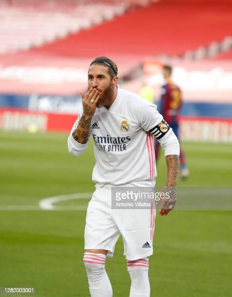 Sergio Ramos celebrating goal during the La Liga Santander match between FC Barcelona and Real Madrid at Camp Nou on October 24, 2020 in Barcelona,...
