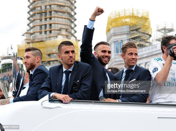 Sergio Ramos Dani Ceballos Borja Mayoral and Marcos Llorente during the Real Madrid team celebration after winning their 13th European Cup on May 27...