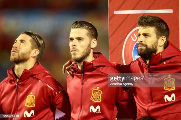 Sergio Ramos David De Gea and Gerard Pique of Spain are seen ahead of the FIFA 2018 World Cup Qualifier between Spain and Albania at Rico Perez...