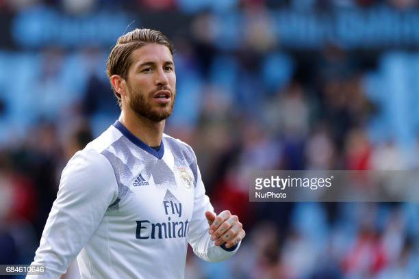 Sergio Ramos defender of Real Madridd during the La Liga Santander match between Celta de Vigo and Real Madrid at Balaidos Stadium on May 17 2017 in...