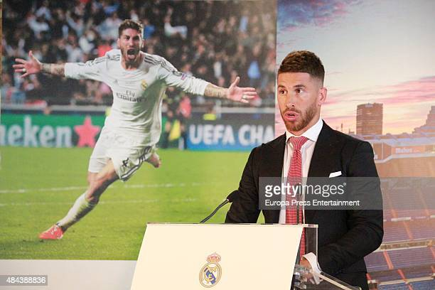 Sergio Ramos during a press conference to announce Ramos' new fiveyear contract with Real Madrid at the Santiago Bernabeu stadium on August 17 2015...