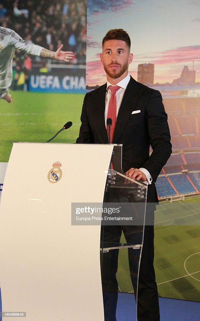 Sergio Ramos during a press conference to announce Ramos' new five-year contract with Real Madrid at the Santiago Bernabeu stadium on August 17, 2015 in Madrid, Spain.