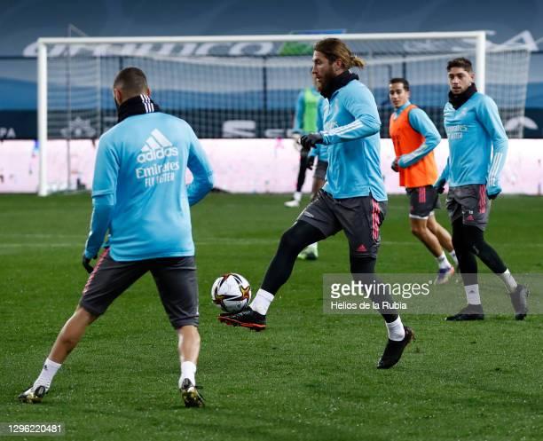 Sergio Ramos, Federico Valverde, Lucas Vazquez and Karim Benzema training in the final session ahead of Spanish Super Cup semi-final at La Rosaleda...