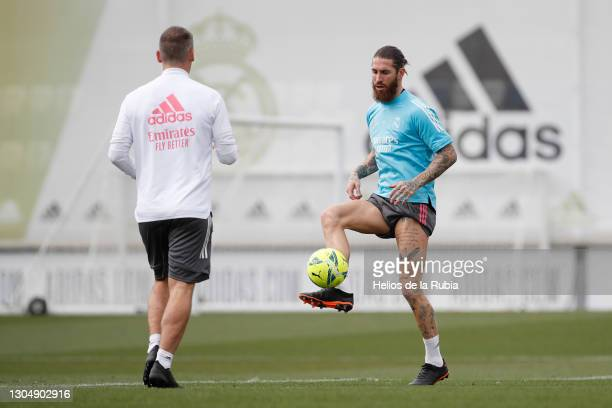 Sergio Ramos from Real Madrid CF at Valdebebas training ground on March 02, 2021 in Madrid, Spain.