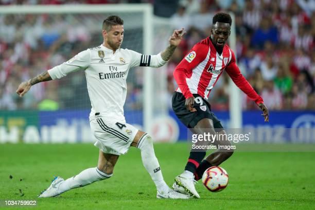 Sergio Ramos Garcia of Real Madrid CF Inaki Williams Arthuer of Athletic Club Bilbao during the La Liga Santander match between Athletic de Bilbao v...
