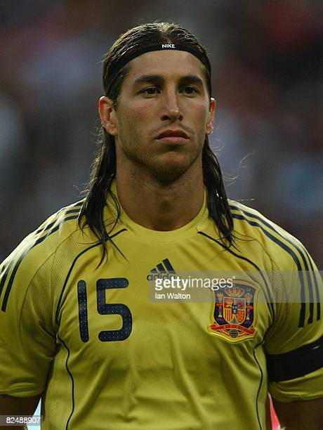 Sergio Ramos Garcia of Spain looks on during the International Friendly match between Denmark and Spain on August 20, 2008 at the Parken Stadium in...