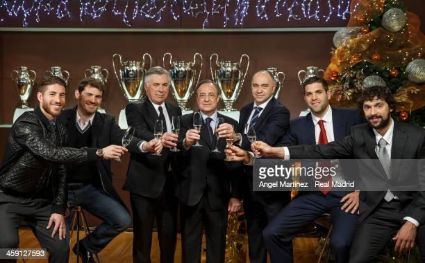 Sergio Ramos, Iker Casillas, head coach Carlo Ancelotti, president Florentino Perez, basketball head coach Pablo Laso, basketball player Felipe Reyes...