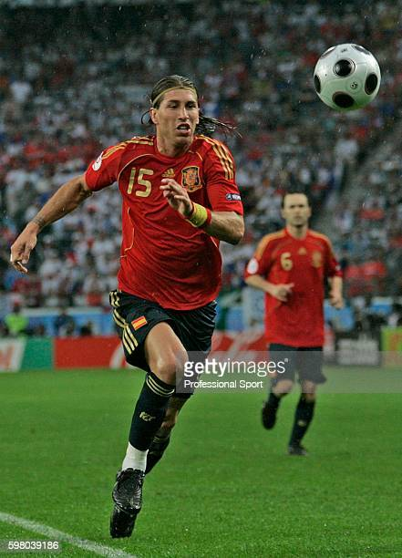 Sergio Ramos in action during the UEFA EURO 2008 Group D match between Spain and Russia at Stadion Tivoli Neu on June 10, 2008 in Innsbruck, Austria.