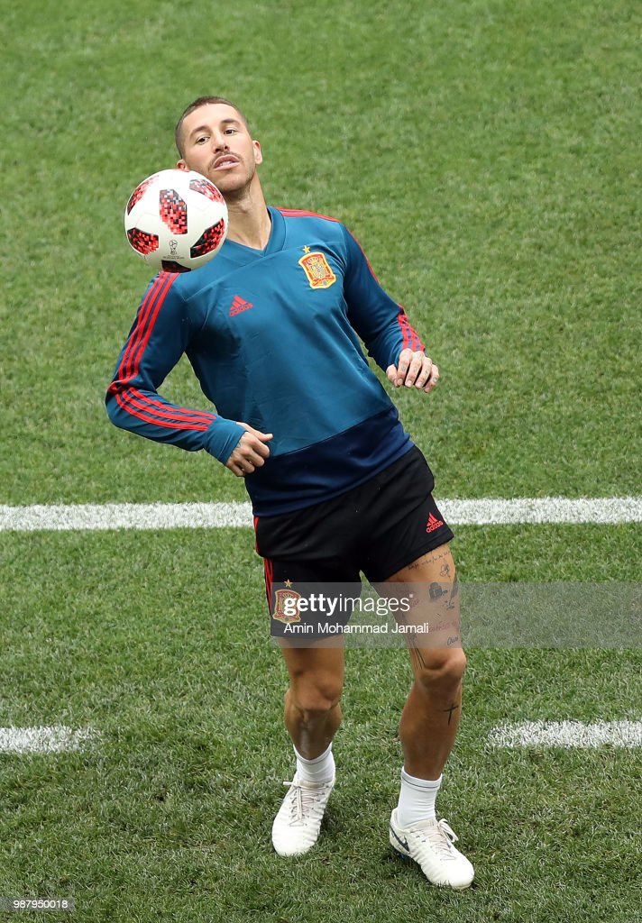 Sergio Ramos in action in a Training Session before the Match between Spain and Russian at the Luzhniki Stadium in Moscow on June 30, 2018 in Moscow, Russia.