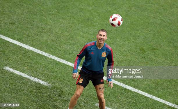 Sergio Ramos in action in a Training Session before the Match between Spain and Russian at the Luzhniki Stadium in Moscow on June 30 2018 in Moscow...