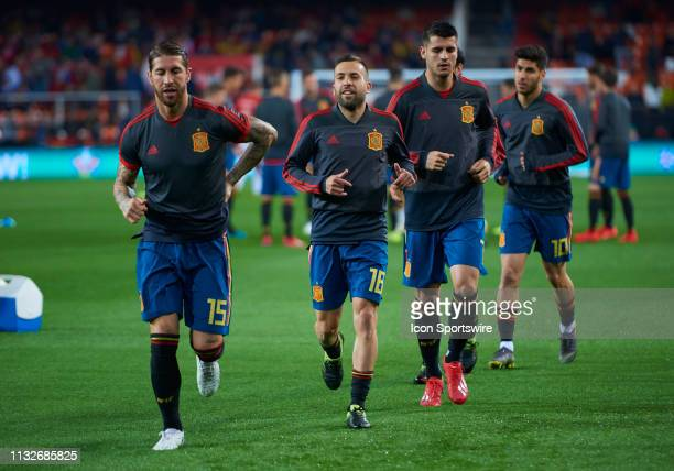Sergio Ramos Jordi Alba Alvaro Morata Marco Asensio players of Spain looks during the 2020 UEFA European Championships group F qualifying match...