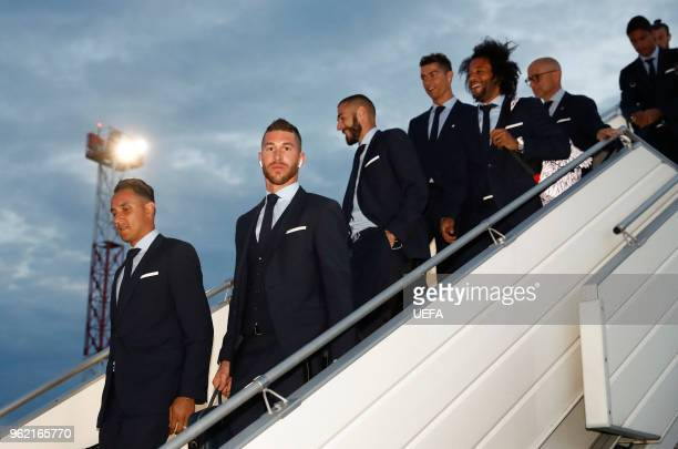 Sergio Ramos Karim Benzema Cristiano Ronaldo and Marcelo of Real Madrid arrive ahead of the UEFA Champions League Final at KBP Airport on May 24 2018...