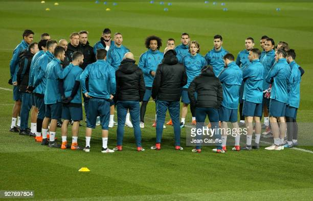 Sergio Ramos Marcelo Luka Modric Marco Asensio Mateo Kovacic Keylor Navas of Real Madrid and teammates listen to coach of Real Madrid Zinedine Zidane...