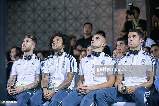 Sergio Ramos Marcelo Pepe and Cristiano Ronaldo of Real Madrid attend a signing ceremony on July 26 2015 in Guangzhou China Real Madrid will open a...