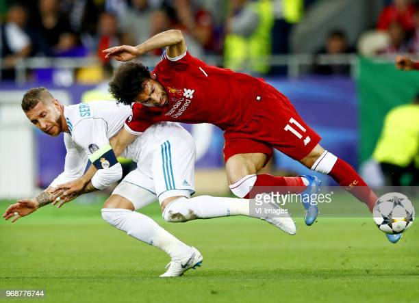 Sergio Ramos of CF Real Madrid, Mohamed Salah of Liverpool FC during the UEFA Champions League final between Real Madrid and Liverpool on May 26,...