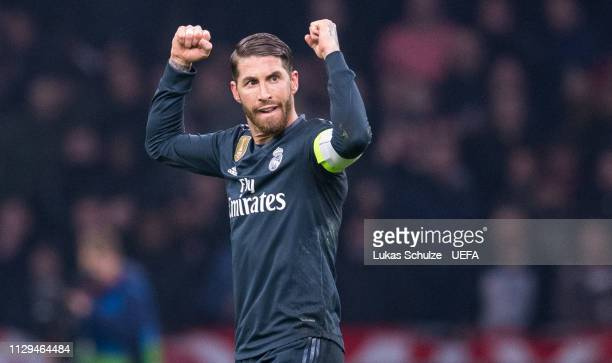Sergio Ramos of Madrid celebrates after winning the UEFA Champions League Round of 16 First Leg match between Ajax and Real Madrid at Johan Cruyff...