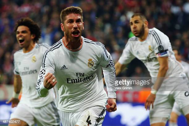Sergio Ramos of Madrid celebrates his team's second goal during the UEFA Champions League semi final match between FC Bayern Muenchen and Real Madrid...