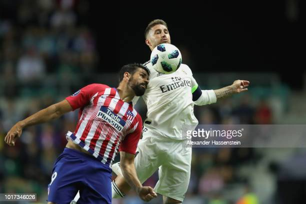 Sergio Ramos of Real battels for the ball with Diego Costa of Atletico during the UEFA Super Cup between Real Madrid and Atletico Madrid at Lillekula...