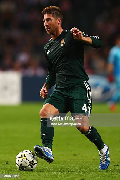 Sergio Ramos of Real in action during the UEFA Champions League Group D match between Ajax Amsterdam and Real Madrid at Amsterdam Arena on October 3...