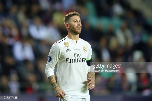 Sergio Ramos of Real looks on during the UEFA Super Cup between Real Madrid and Atletico Madrid at Lillekula Stadium on August 15 2018 in Tallinn...
