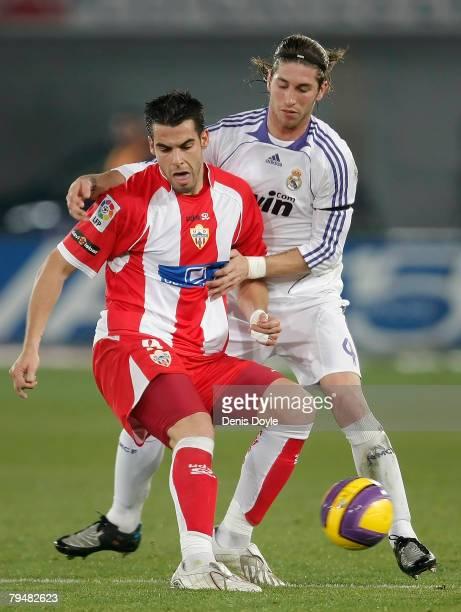 Sergio Ramos of Real Madird blocks Alvaro Negredo of Almeria during the La Liga match between Almeria and Real Madrid at the Juegos Mediterraneos...
