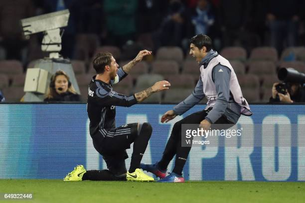 Sergio Ramos of Real Madrid Alvaro Morata of Real Madridduring the UEFA Champions League round of 16 match between SSC Napoli and Real Madrid on...