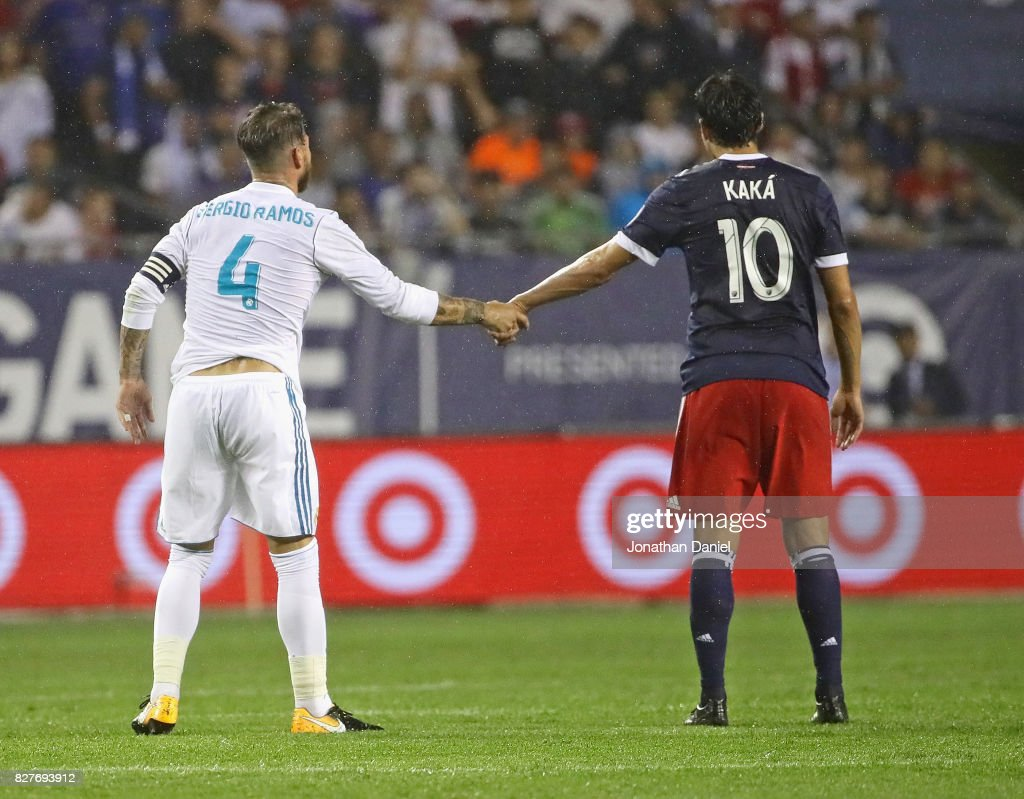 Sergio Ramos #2 of Real Madrid and Kaka #10 of the MLS All-Stars shake hands after a colision during the 2017 MLS All- Star Game at Soldier Field on August 2, 2017 in Chicago, Illinois.