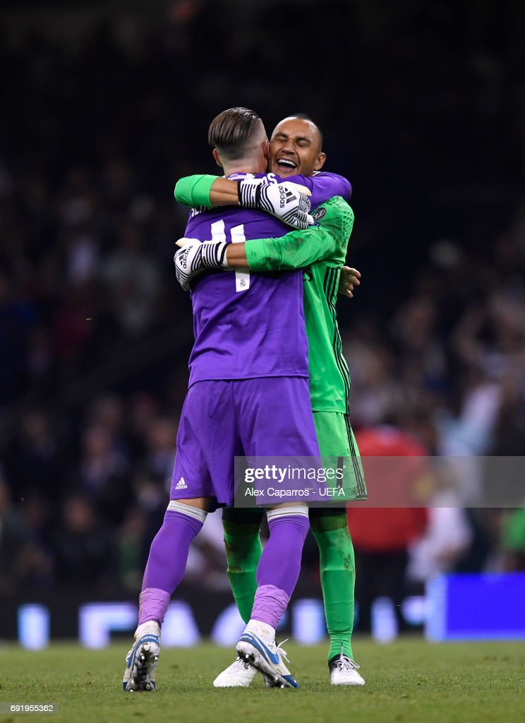 Sergio Ramos of Real Madrid and Keylor Navas of Real Madrid celebrate victory after the UEFA Champions League Final between Juventus and Real Madrid at National Stadium of Wales on June 3, 2017 in Cardiff, Wales.