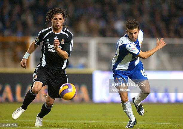 Sergio Ramos of Real Madrid and Luis Garcia of Espanyol in action during the match between RCD Espanyol and Real Madrid, of La Liga, on December 17,...