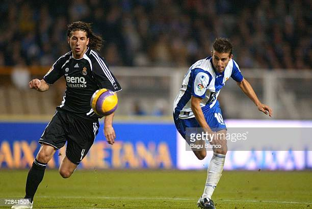 Sergio Ramos of Real Madrid and Luis Garcia of Espanyol in action during the match between RCD Espanyol and Real Madrid, of La Liga, on December...
