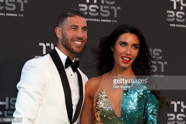 Sergio Ramos of Real Madrid and Pilar Rubio arrives on the Green Carpet ahead of The Best FIFA Football Awards at Royal Festival Hall on September 24...