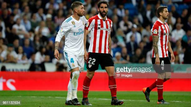 Sergio Ramos of Real Madrid and Raul Garcia of Athletic Club look on after the La Liga match between Real Madrid and Athletic Club at Estadio...