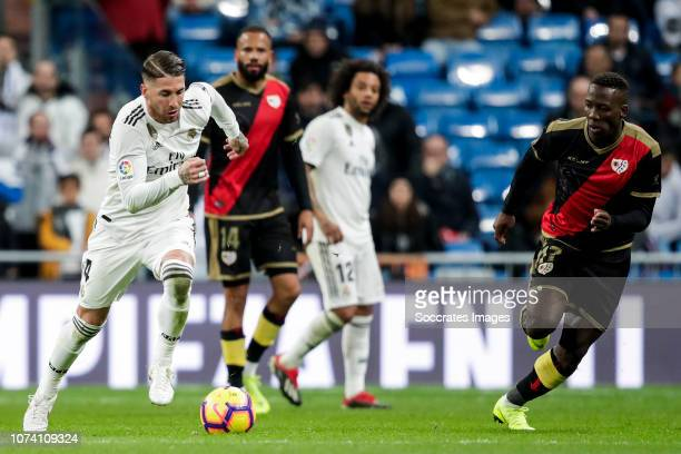 Sergio Ramos of Real Madrid Bebe of Rayo Vallecano Marcelo of Real Madrid Luis Advincula of Rayo Vallecano during the La Liga Santander match between...