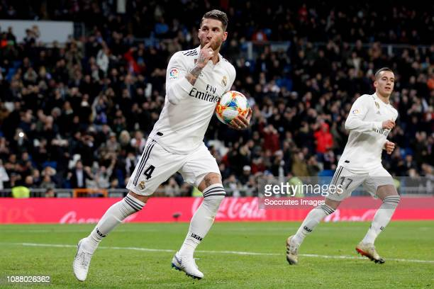 Sergio Ramos of Real Madrid celebrate goal during the Spanish Copa del Rey match between Real Madrid v Girona at the Santiago Bernabeu on January 24...