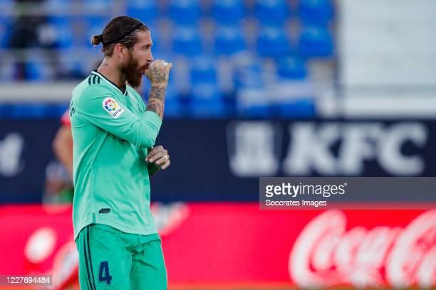 Sergio Ramos of Real Madrid celebrates 0-1 during the La Liga Santander match between Leganes v Real Madrid at the Estadio Municipal de Butarque on...