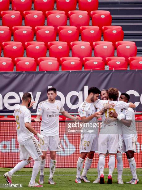 Sergio Ramos of Real Madrid celebrates 01 with Rodrygo of Real Madrid Karim Benzema of Real Madrid Federico Valverde of Real Madrid Marco Asensio of...