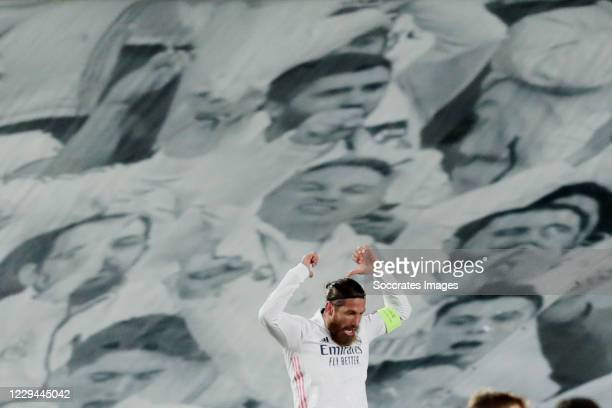 Sergio Ramos of Real Madrid Celebrates 2-0 during the UEFA Champions League match between Real Madrid v Internazionale at the Alfredo Di Stefano...