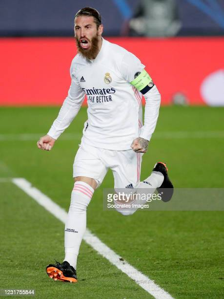 Sergio Ramos of Real Madrid Celebrates 2-0 during the UEFA Champions League match between Real Madrid v Atalanta Bergamo at the Estadio Alfredo Di...