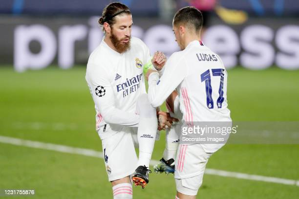 Sergio Ramos of Real Madrid Celebrates 2-0 with Lucas Vazquez of Real Madrid during the UEFA Champions League match between Real Madrid v Atalanta...