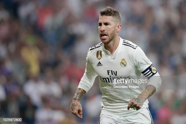 Sergio Ramos of Real Madrid celebrates 41 during the La Liga Santander match between Real Madrid v Leganes at the Santiago Bernabeu on September 1...