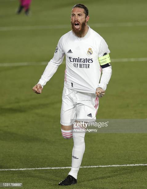 Sergio Ramos of Real Madrid celebrates after scoring a goal during the UEFA Champions League Round of 16 match between Real Madrid and Atalanta at...