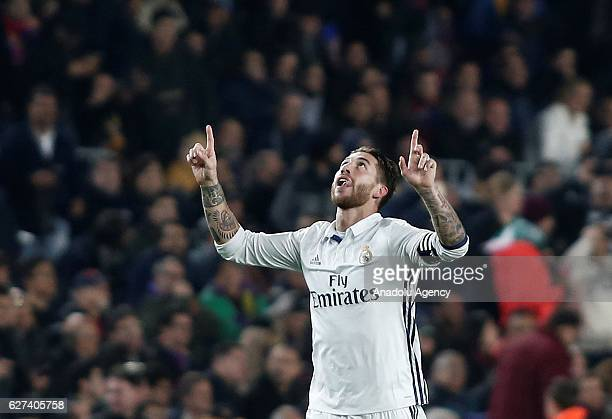 Sergio Ramos of Real Madrid celebrates after scoring a goal during the La Liga football match between FC Barcelona and Real Madrid CF at Camp Nou...