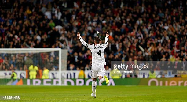 Sergio Ramos of Real Madrid celebrates after scoring during the Copa del Rey round of 16 second leg match between Real Madrid CF and Club Atletico de...