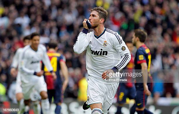 Sergio Ramos of Real Madrid celebrates after scoring during the La Liga match between Real Madrid and FC Barcelona at Estadio Santiago Bernabeu on...