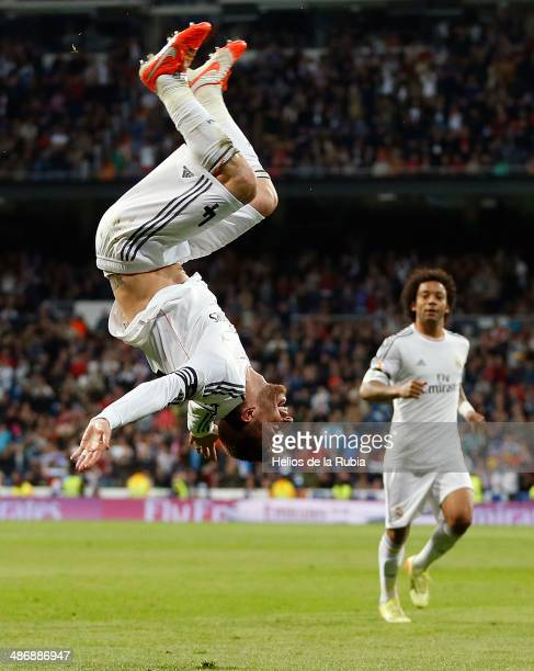 Sergio Ramos of Real Madrid celebrates after scoring during the La Liga match between Real Madrid and CA Osasuna at Estadio Santiago Bernabeu on...